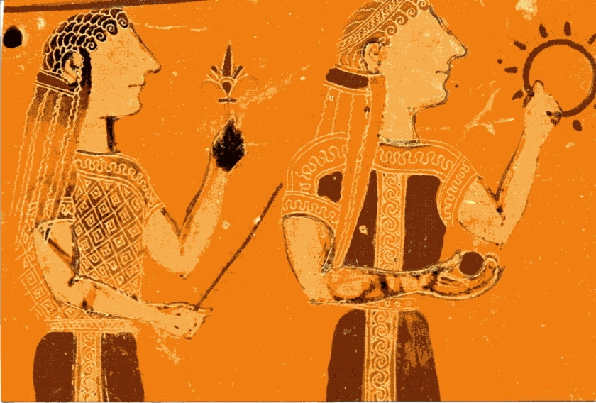 ancient greek painting of 2 women
