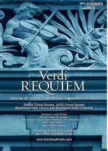 Poster for Verdi Requiem at Blackheath Halls