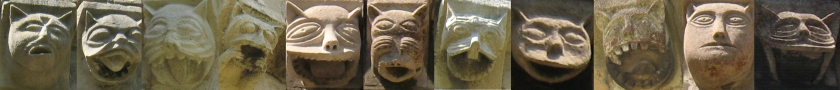11 carved stone cat faces