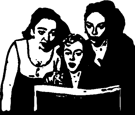 three women reading a book together